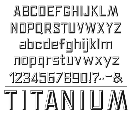 Font in stone stylewith alphabet, numbers and punctuation marks. Capital and small letters. Abc and digits, font and headers lettering design. Titanium headline, monochrome vector isolated Ilustrace