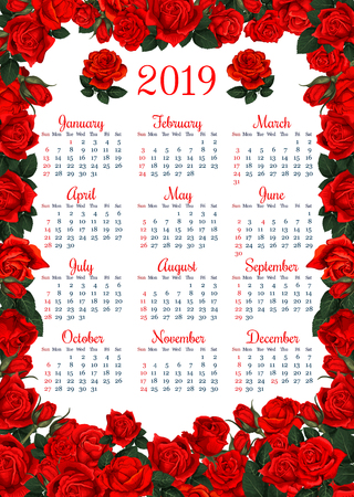 Year calendar template in red flower frame. Summer floral wreath of garden rose plant blossom, flower bud and green leaf branch for floral organizer and planner design