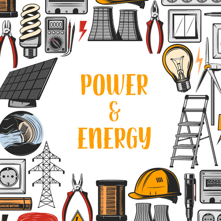 Energy and power industry, vector. Electricity producing plant and heat stations, hydro and wind energy, nuclear power, pliers and ladder, battery and light bulbs, socket and plastic helmet