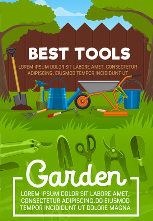 Garden tools with shovel and sprayer, watering can and rake, cart and water hose, bucket and secateurs on grass lawn with wooden fence under trees. Equipment for gardening and planting, vector design Illustration