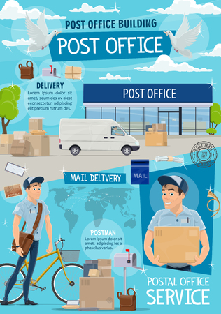 Post office and mail delivery. Postage service, post shipping transport and postman at work in post office building, vector. Mailman with bag and bicycle deliver parcels and letter envelopes