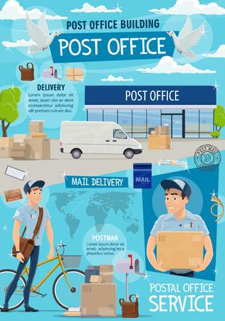 Bureau de poste et livraison du courrier. Service d'affranchissement, transport post-expédition et facteur au travail dans un immeuble de bureaux de poste, vecteur. Mailman avec sac et vélo livrer des colis et des enveloppes de lettres