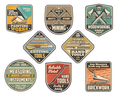 Repair and construction, building tools signboards and icons. Roller and axe, picker and stationery putty knives, file, level ruler, scrap. Vector painting, woodwork and brickwork, mining symbols Stock Illustratie