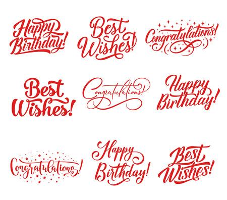 Gratulacje odręczny napis na kartkę z życzeniami i szablon zaproszenia. Napis z kaligrafii Happy Birthday i Best Wishes, ozdobiony gwiazdą do projektowania dekoracji uroczystości