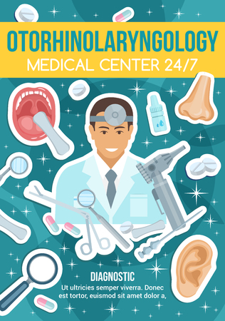 Otorhinolaryngology medical center, diagnostic department. Doctor in robe and equipment, mouth and nose, ear and scissors, drops and pills, magnifier and capsule. Vector illustration Illustration