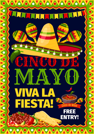 Cinco de Mayo Mexican holiday fiesta invitation card for party celebration. Vector poster for Viva Fiesta of Mexican sombrero and maracas, tortilla chips nachos and jalapeno pepper sauce in flag frame Illustration
