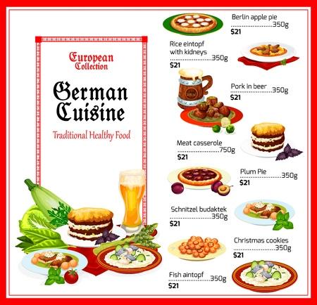 Menu de la cuisine allemande, vecteur. Tartes aux pommes et prunes de Berlin, riz aux reins et eintopf de poisson, porc à la bière et casserole de viande, schnitzel budaktek et biscuits de Noël. Cuisine allemande traditionnelle