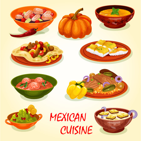 Mexican cuisine restaurant lunch icon with savory dish. Meat taco salad in corn tortilla, fried fish and seafood ceviche, avocado sauce guacamole, beef rice, meatball tomato and pumpkin cream soup Banque d'images - 109734880