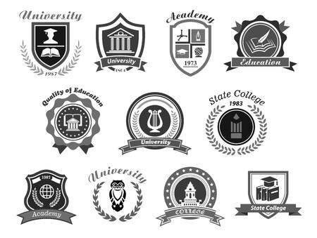 Icônes vectorielles université, collège et académie. Écussons pour les diplômés du secondaire en sciences, musique et droit. Rubans de baccalauréat, couronne de laurier, stylo livre et hibou