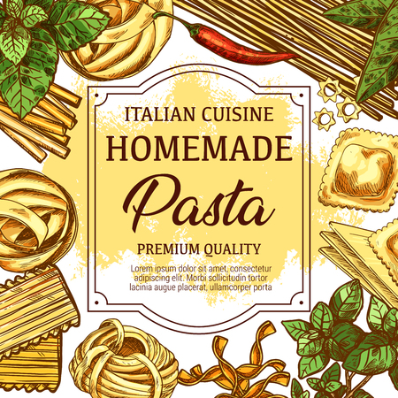 Italian homemade pasta traditional food. Spaghetti, macaroni and penne, fusilli, rigatoni and ravioli, fettucine, stelline and conchiglie, farfalle and tagliatrlli. Vector sketch Illustration