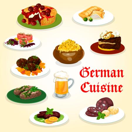 Leckeres Abendessen der deutschen Küche mit Wurst- und Bierkarikaturikone. Kartoffel-, Kohl- und Fleischbrötchen, Lachsfischpastete, Rindersteak und Fleischbällchen, Fleisch- und Fischlabskaus, Schokoladen- und Obstkuchen
