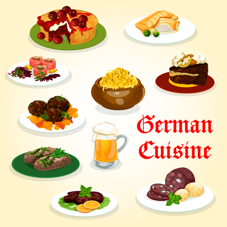 German cuisine tasty dinner with sausage and beer cartoon icon. Potato, cabbage and meat roll, salmon fish pie, beef steak and meatball, meat and fish labskaus, chocolate and fruit cake Illustration
