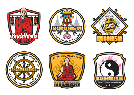 Religious Buddhism icons with monk in red robe and religious symbols. Dharma wheel and monastery, gold fishes and yin yang, lotus flower and flag symbols. Oriental religion attributes, vector design