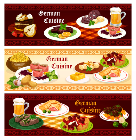 German cuisine restaurant banner set with traditional bavarian food. Sausage, cabbage stew and bear, meat, fish and mashed potato labskaus, pork roll, fish and cherry pie, beef steak, chocolate cake  イラスト・ベクター素材