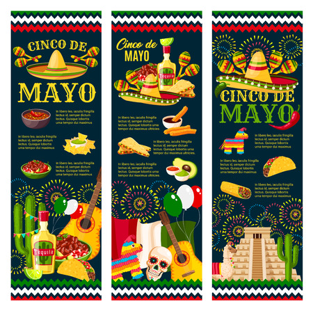 Cinco de Mayo Festival greeting banner for mexican holiday celebration design. Latin American fiesta party food and festive symbol of sombrero hat, maracas and pepper, tequila, cactus and guitar Ilustração