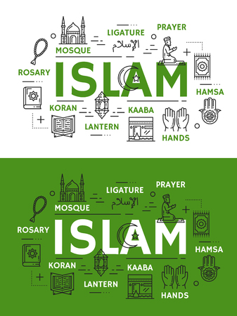 Islam religion and culture line art vector icons. Muslim mosque, hands and Kaaba, Ramadan lantern, holy Koran book and ligature, prayer or salah on knees, rosary and hamsa symbols