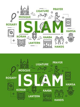 Islam religion and culture line art vector icons. Muslim mosque, hands and Kaaba, Ramadan lantern, holy Koran book and ligature, prayer or salah on knees, rosary and hamsa symbols