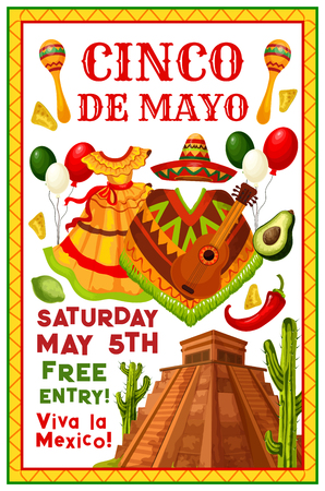 Cinco de Mayo Mexican party invitation flyer for holiday fiesta. Vector Cinco de Mayo celebration Mexico flag balloons, jalapeno pepper or sombrero on poncho and cactus at Mexico Aztec pyramid