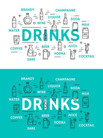 Icônes de boissons, boissons en verrerie. Eau et brandy, vin, liqueur, champagne et soda, cocktail de lait, jus et café, saké et vodka, vecteur de bière. Boissons alcoolisées et non alcoolisées