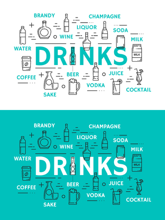 Drinks icons, beverages in glassware. Water and brandy, wine, liquor, champagne and soda, milk cocktail, juice and coffee, sake and vodka, beer vector. Alcohol and non alcohol drinks