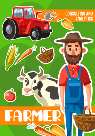 Farmer on farm, vector cartoon design. Agriculture and farming profession, bearded man with tractor, vegetable harvest, cow cattle and wicker basket, corn and carrot, tomato and bell pepper
