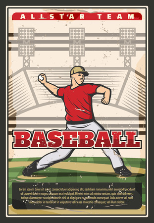 Baseball sport retro poster, player pitching ball. Fit man in uniform on grass field takes part in baseball tournament. Team game, professional sportsmen, competition announcement vector themes