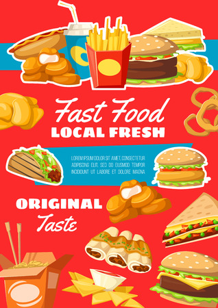 Fast food vector hamburger and cheeseburger, french fries pack and Chinese noodles in box, enchiladas and nuggets, nachos and soda, sandwich and hot dog, onion rings and taco
