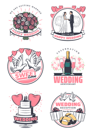 Happy wedding celebration vintage symbol. Bride and groom, wedding bouquet, cake and gold ring, gift box, champagne and dove retro icon, adorned by balloon in shape of heart for greeting card design