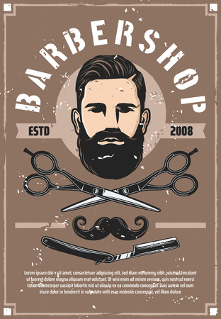 Barber shop haircut salon vector retro poster. Man with beard and mustaches, haircut made with scissors and vintage razor. Barbershop or trendy hipster haircutter salon services and male person head