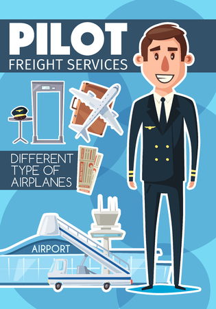 Pilot in uniform and freight service, flight icons and airplane. Aircraft crew profession character, travel suitcase and captain cap, airport passenger ladder and security check scanner. Vector design