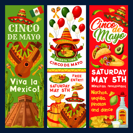 Cinco de Mayo Mexican party invitation banners or holiday fiesta flyers for traditional Mexican celebration. Vector Mexico flag, jalapeno pepper or avocado and sombrero on cactus for Cinco de Mayo