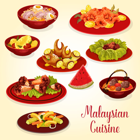 Malaysian cuisine meat and seafood dinner dish icon. Pickled vegetable salad, chicken noodle soup and crab claw, shrimp and chicken wing in chili sauce, beef rib soup, chicken stew and coconut dessert Ilustração