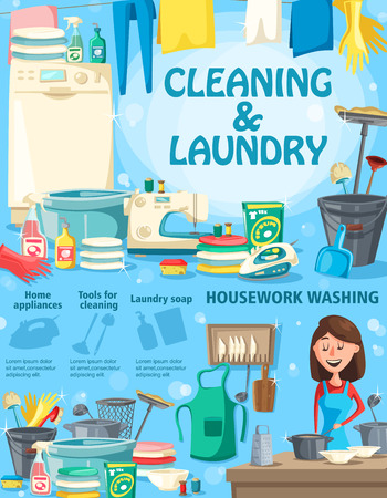 Cleaning and laundry, housework washing and home appliances, soap and tools. Woman with dishware, lean clothes and washer, detergent and sewing machine, bucket and broom, iron and towels vector design