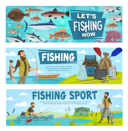 Fishing hobby sport and fisherman. Fisher with fish and equipment, rod with bait and inflatable or wooden boat, man in rubber boots. Net with salmon, trout or marlin, pike and octopus. Vector banners Ilustração