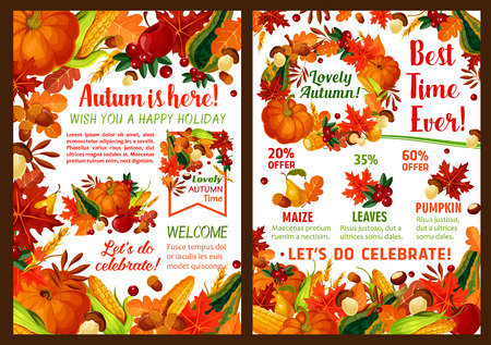 Autumn sale poster for seasonal fall harvest discount promo. Foliage, maple leaf or oak acorn, pumpkin or rowan berry and autumn fruit and corn or autumn forest mushroom for farm market vector design