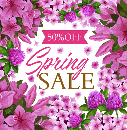 Spring sale promo poster with pink floral frame. Discount price offer flyer, edged with Springtime flower of clover, azalea and phlox blossom, green leaf and ribbon banner for seasonal shopping design Illustration