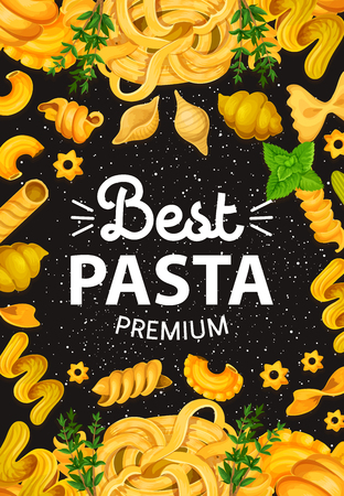 Italian pasta with herbs and seasonings. Italy cuisine food tagliatelle, spaghetti, fettuccine or penne with spices, ravioli and farfalle. Rosemary and mint condiments, noodles, fusilli and rigati