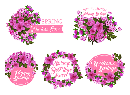 Spring season holiday icon with pink flower wreath and ribbon banner. Springtime blooming garden plant with clover, azalea and phlox blossom, green leaf and floral branch for greeting card design Illustration