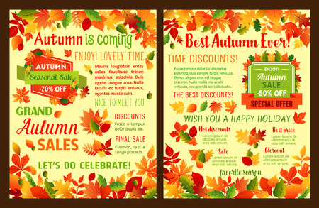 Autumn sale leaflet or Fall is coming poster of maple leaf and oak acorn for seasonal shopping discount promo 50 and 70 percent price off. Vector templates of autumn falling leaves or tree foliage