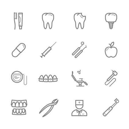 Dentistry thin line icon set for medicine and dental themes design. Healthy and decayed tooth, toothbrush and toothpaste, dentist tool, tooth implant and braces, floss, pill, syringe and dentist chair Ilustracja