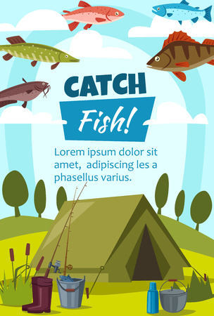Fishing sport and camping or hiking with tent and fishes. Catfish and pike, trout and perch, rubber boots and bucket, kettle and fishing rods, thermos. Vector illustration Иллюстрация
