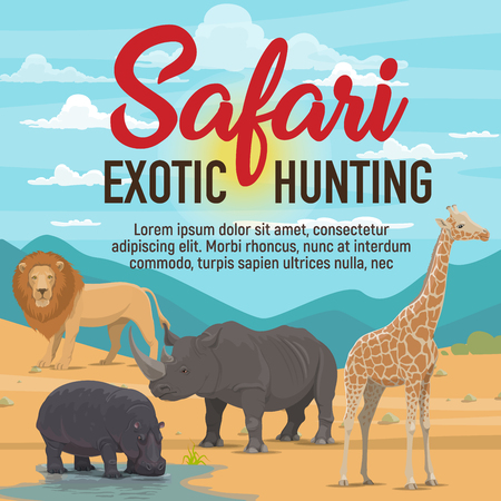 Wild African animals and birds, safari exotic hunting. Lion and rhinoceros, hippo and giraffe in desert and savannah. Vector cartoon illustration