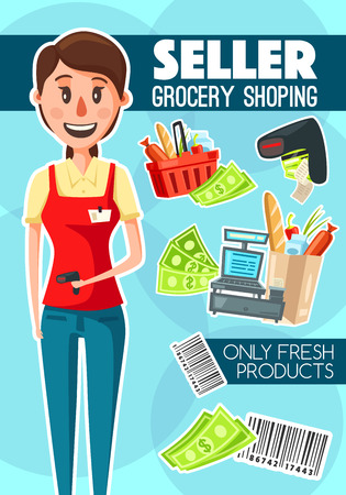 Shop seller or cashier job in retail. Vector shopping basket, bar code, money bills and cash machine, vendor in uniform and grocery shopping, check receipt and products, purchases