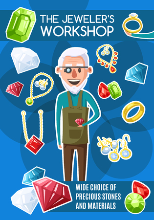 Jewelers workshop, vector. Goldsmith man with eyeglass magnifier and jewelry items. Gem stones and gold ring with jewels and diamonds. Golden earrings and sapphire or emerald necklace pendant