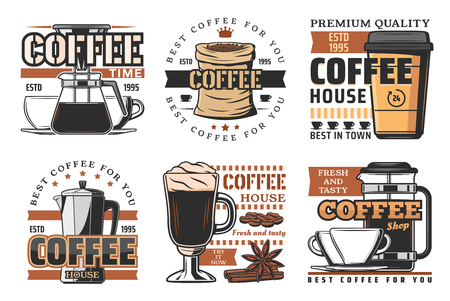 Hot coffee beverage or drink, steaming coffee in cup. Beans and espresso, latte and macchiato, mocha and kettle, glasse with vanilla, blender and cinnamon. Vector icons