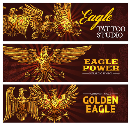 Golden eagle symbolizing power and strength. Vector heraldic symbol. Tattoo studio banners heraldic antique bird of gold plumage with broad wings. Mythical griffin, mascot nobility golden signs Ilustrace