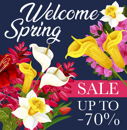 Spring sale offer banner with flower bouquet and ribbon. Blooming daffodil, tulip and calla lily, azalea and delphinium, green leaf and floral branch for Springtime seasonal discount flyer design Illustration
