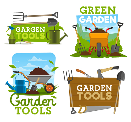 Gardening tools and equipment, garden work isolated icons. Shovel, rake and fork, wheelbarrow with ground and watering can, axe and saw, cutter and pitchfork farmer tools