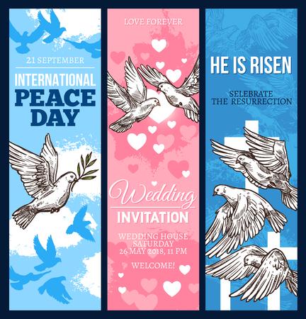 Huwelijksuitnodiging, wenskaart voor Pasen-religie en Wereldvrededag banner met vredesduif. Witte duif vogel schets flyer met olijftak, hart en kruisbeeld voor feestelijk design Vector Illustratie