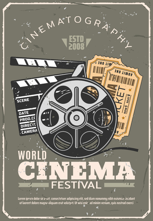 Cinema or movie festival retro poster, tickets for seance and film reel beside clapperboard. Cinematography industry and motion picture production and projecting vintage equipment, vector illustration Banco de Imagens - 108884845